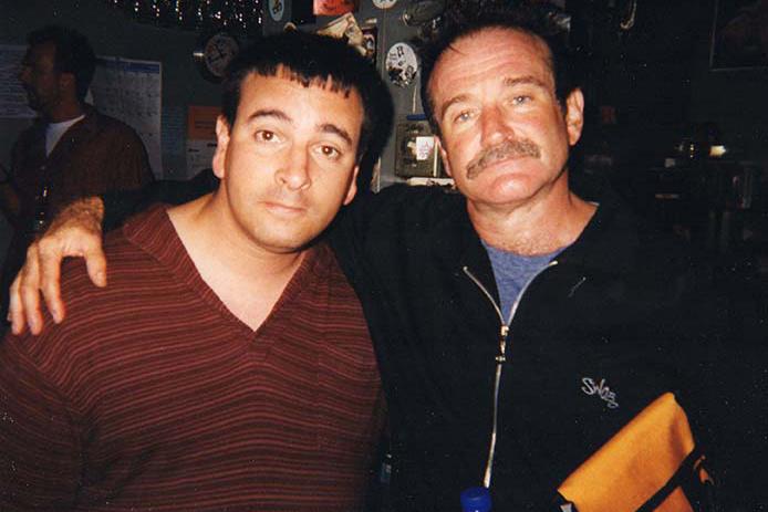 Joel Sanders with one of his heroes, Robin Williams, San Francisco, 2000