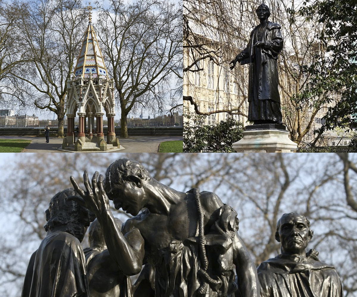 The Buxton Memorial, Emmeline Pankhurst, The Burghers of Calais © Royal Parks