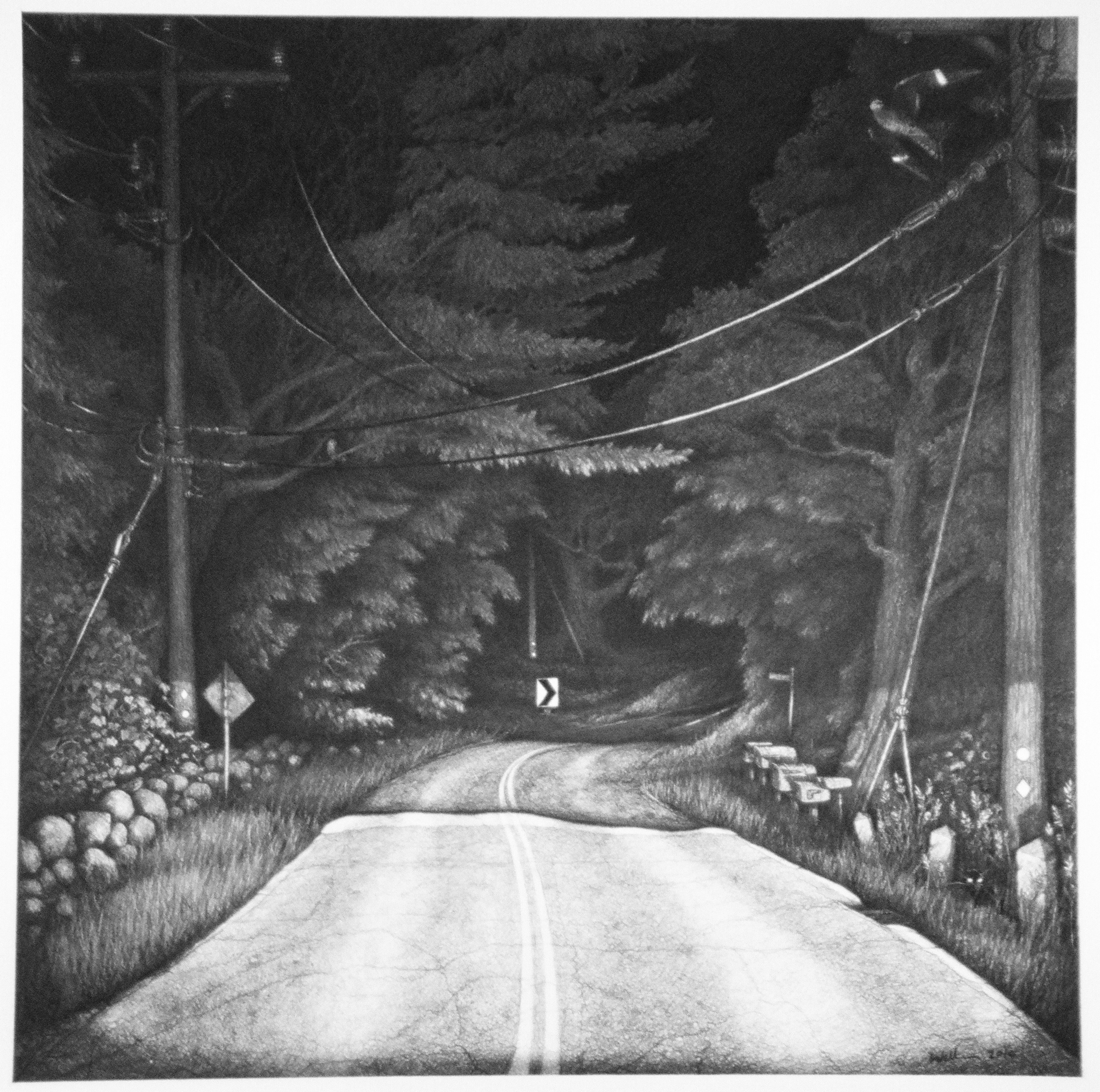 "Middle Road  |  Charcoal on Paper  |  24"" X 24"""
