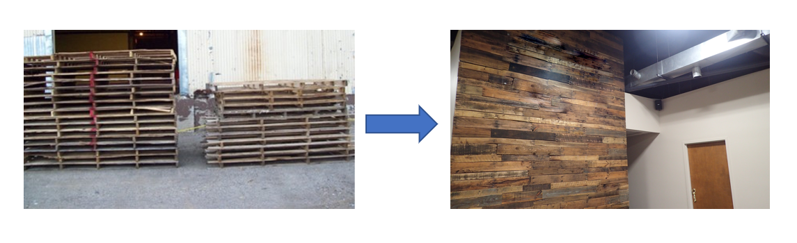 Old pallets used to make decorative wood wall