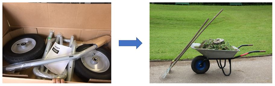 Wheel and handle kits made into wheelbarrow with addition of a tray
