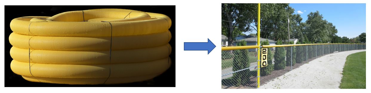 Yellow drainage pipe used as chain-link fence cover on a baseball field