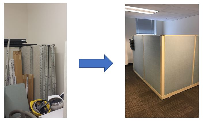 Cubicle panels reused to build new cubicles