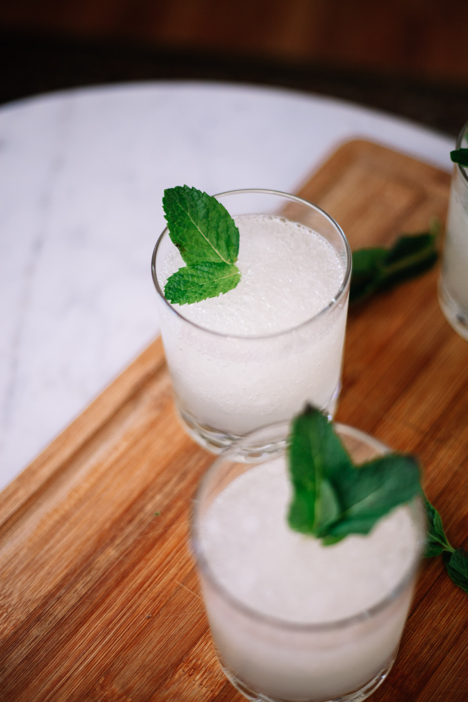 Frozen Mint Moscow Mules with Honey Ginger Syrup | Marina Gunn Food
