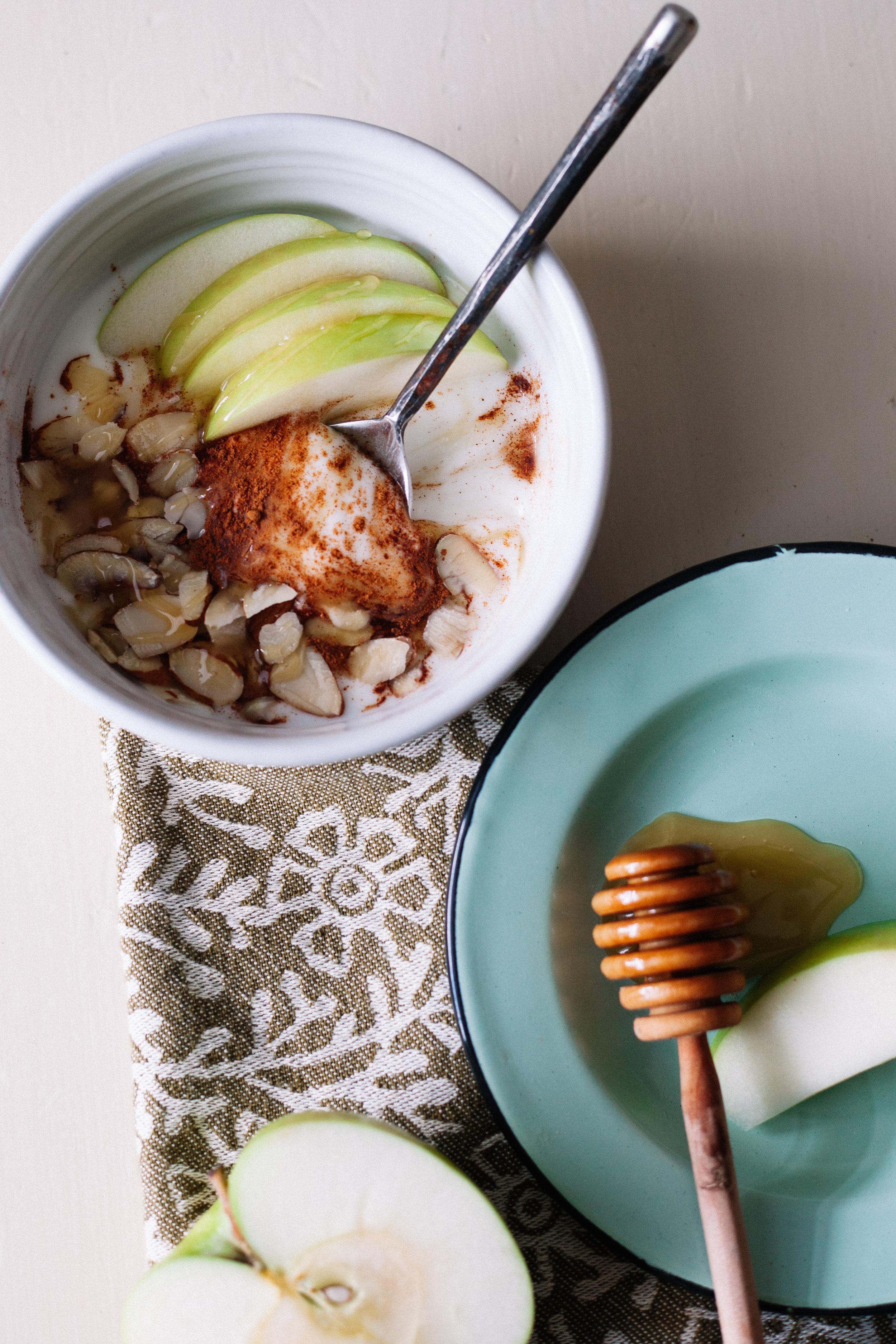Cinnamon Apple Yogurt with Sliced Almonds | Marina Gunn