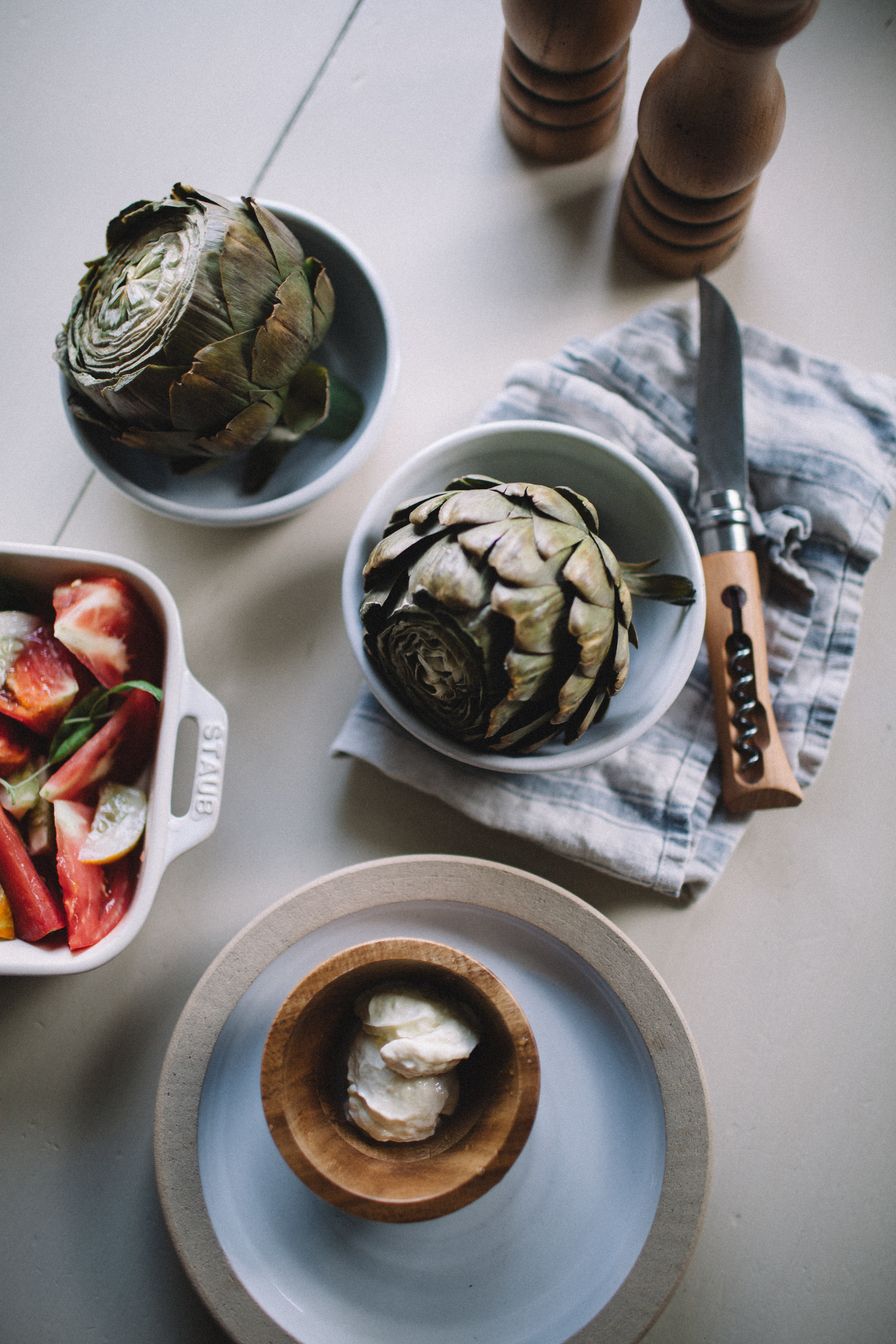 Steamed Artichokes with Lemon Aioli + A Summer Tomato and Cucumber Salad | Marina Gunn