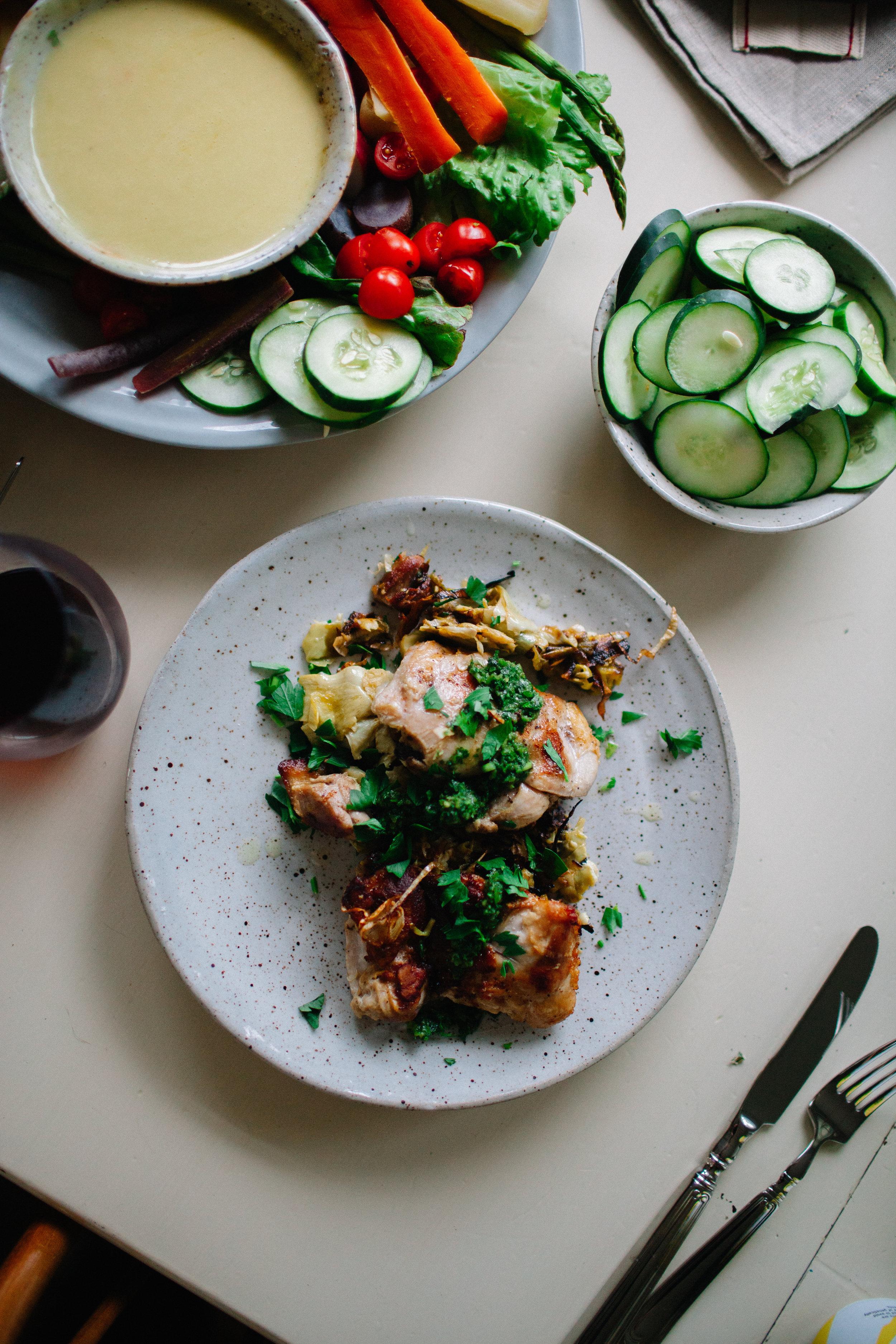 pan-seared chicken thighs with artichokes + zhoug | marina gunn