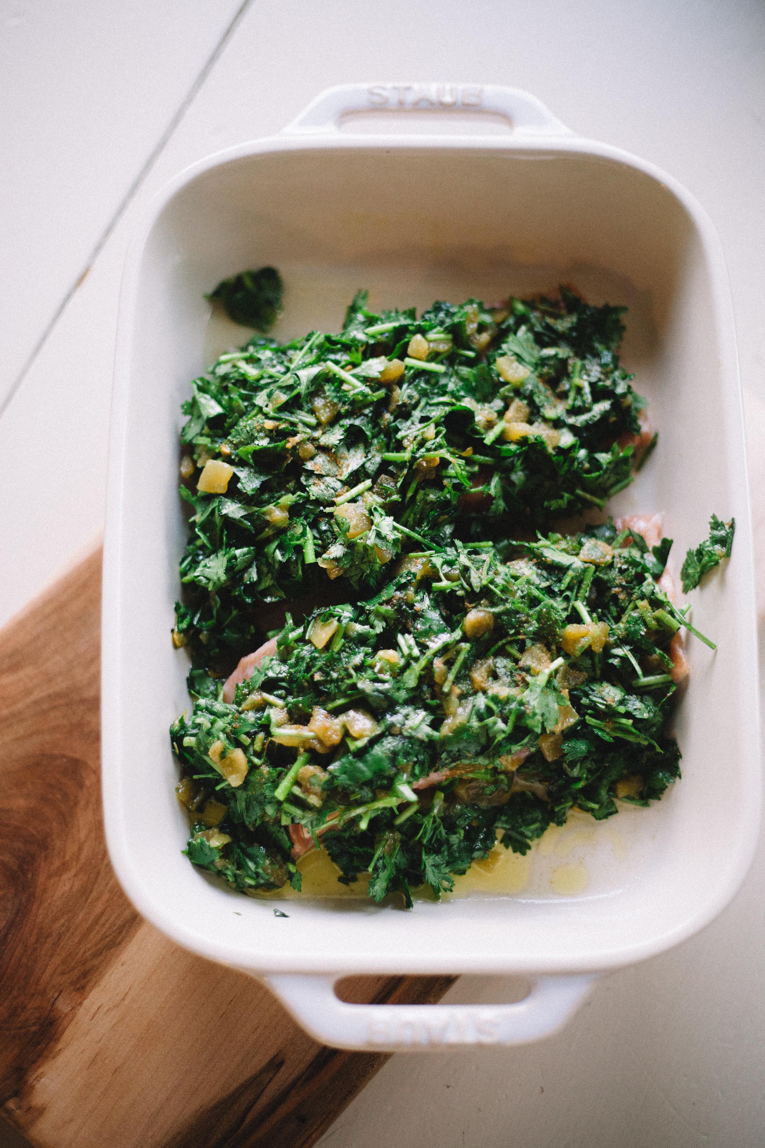 baked salmon with cilantro, chiles and lime | marina elaine gunn martin food