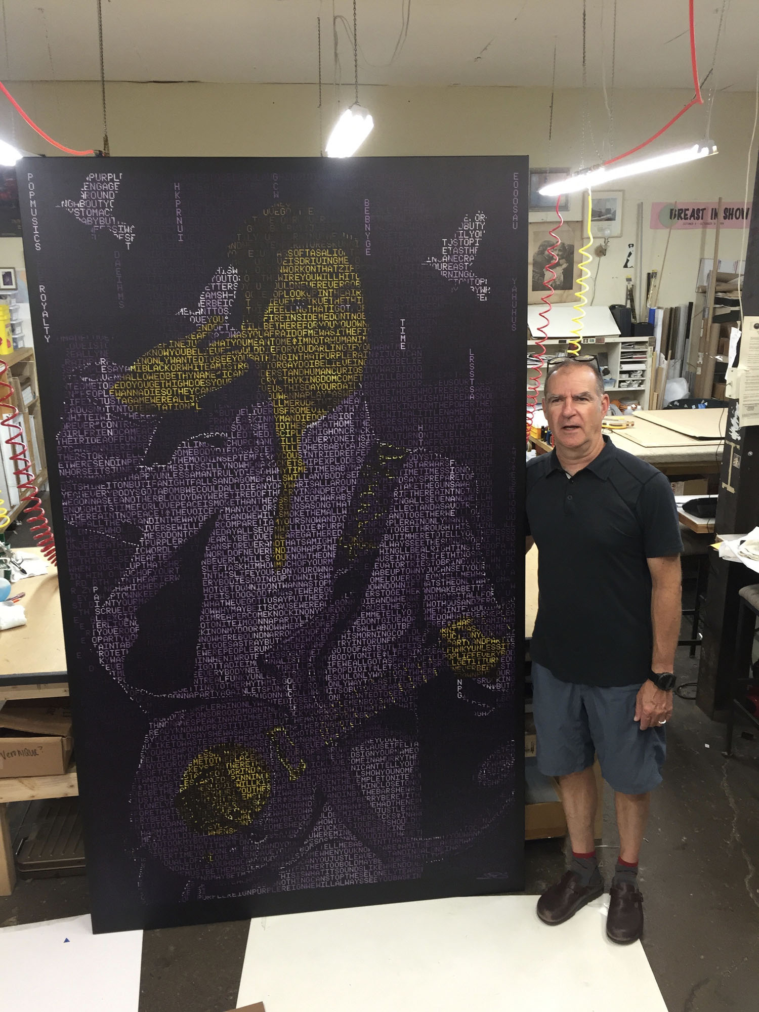 Schleif canvas of Prince that we stretched and framed for US Bank Stadium.