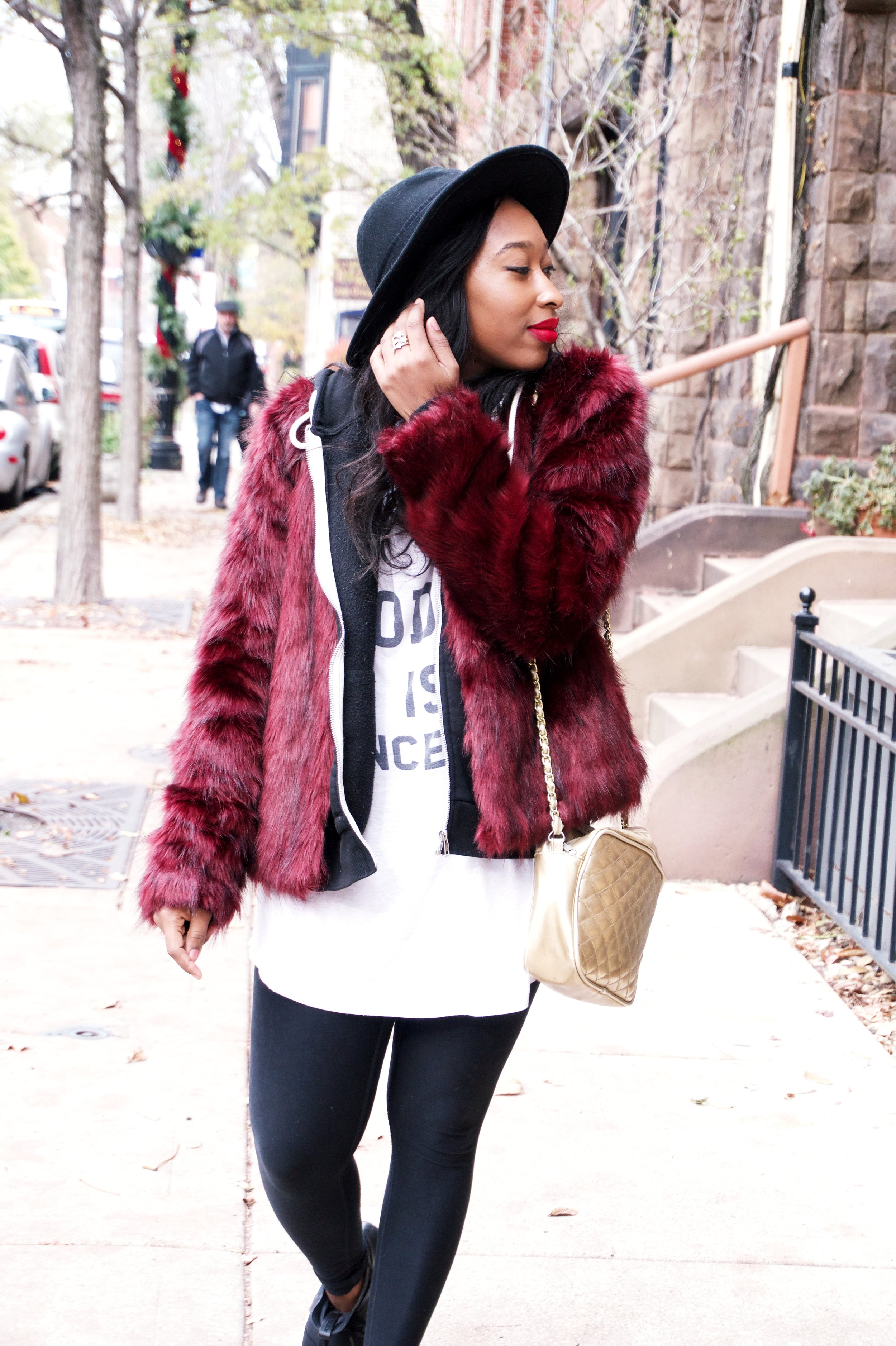 Casual fur outfit