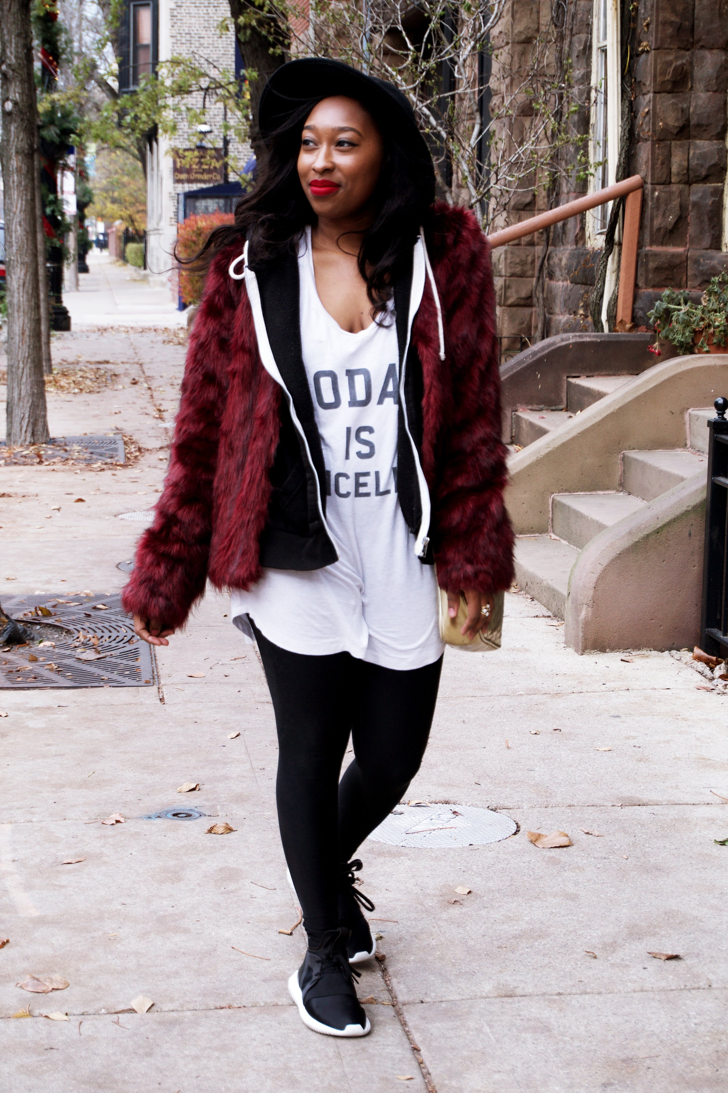 Casual way to style a fur jacket
