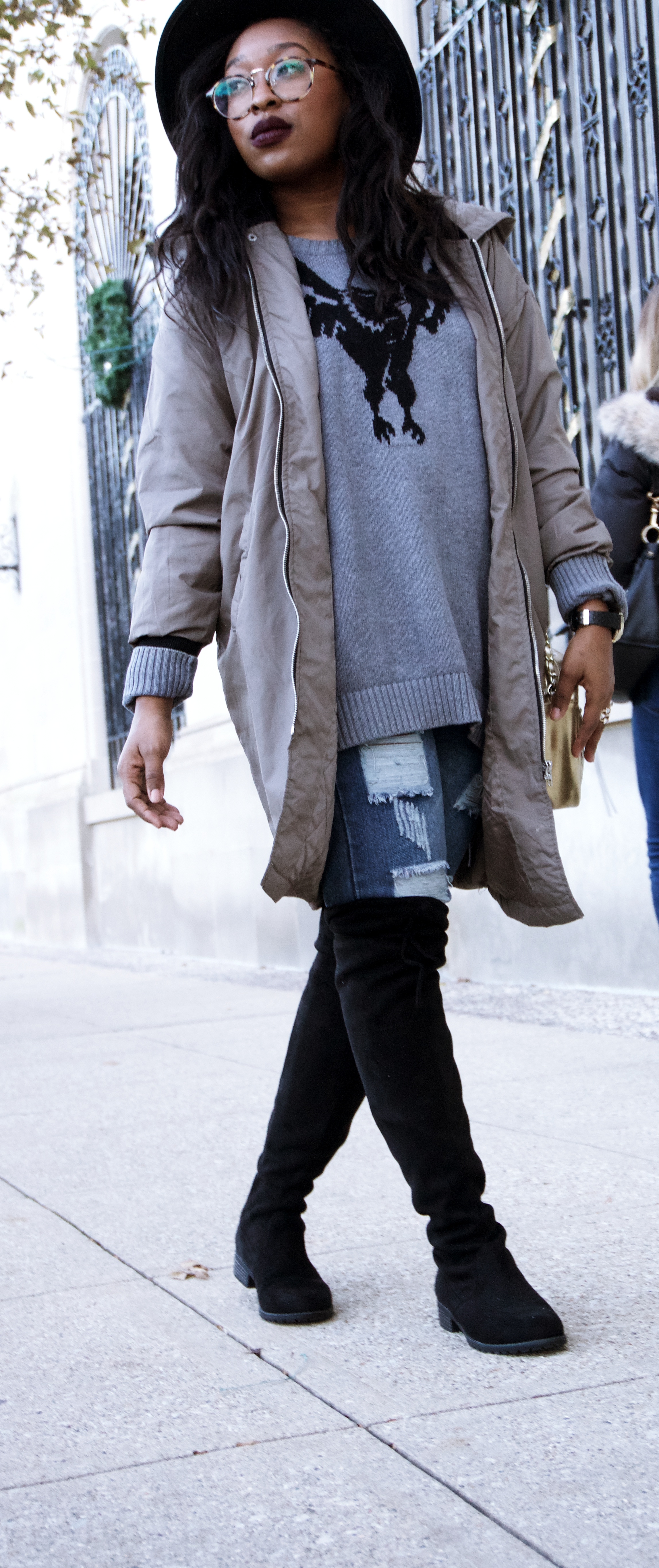 How To Style a Knee Length  bomber Jacket
