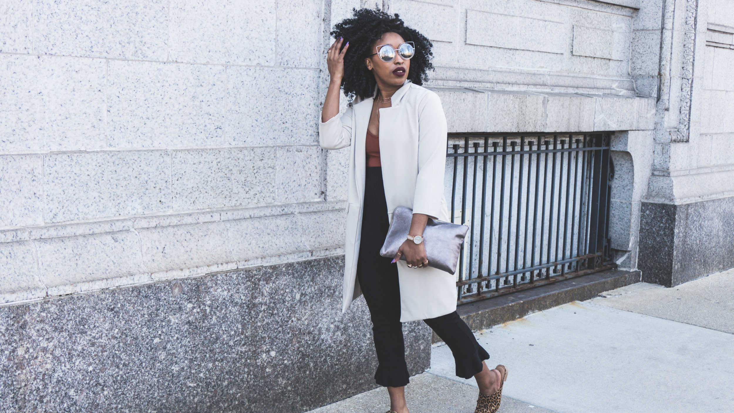 duster jacket, flare pants, bodysuit, anne klein, leopard mules. spring outfits