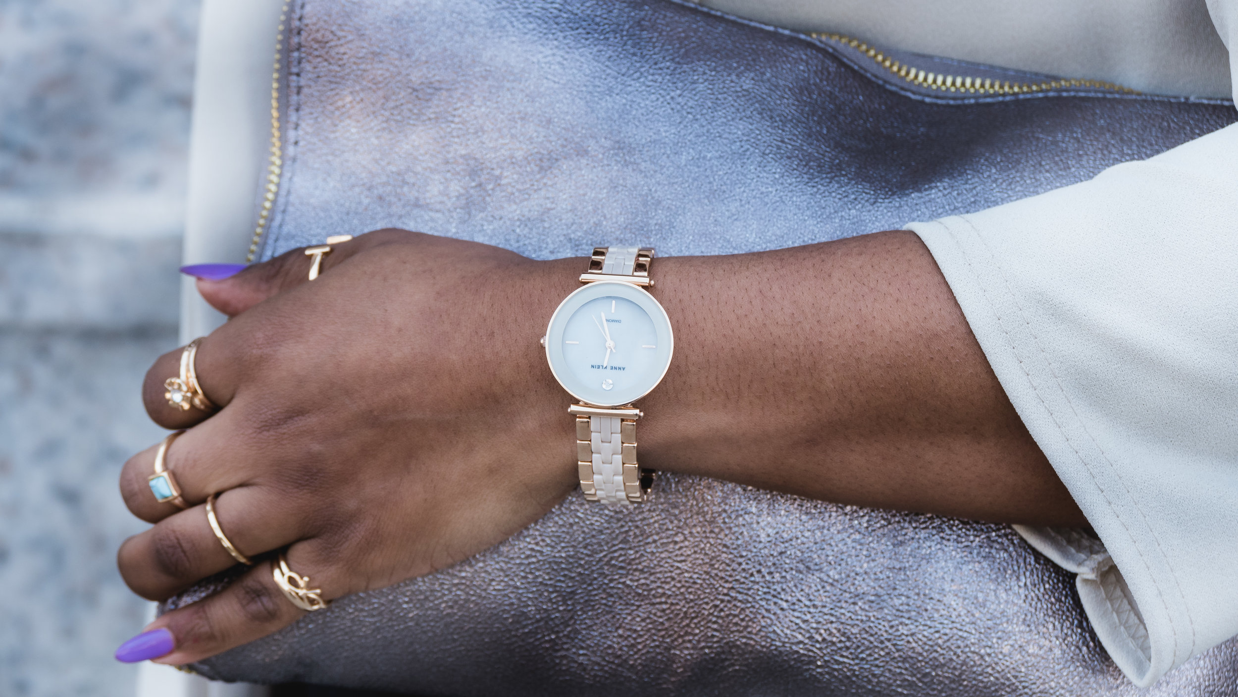 stacked rings, rose gold watch, accessories
