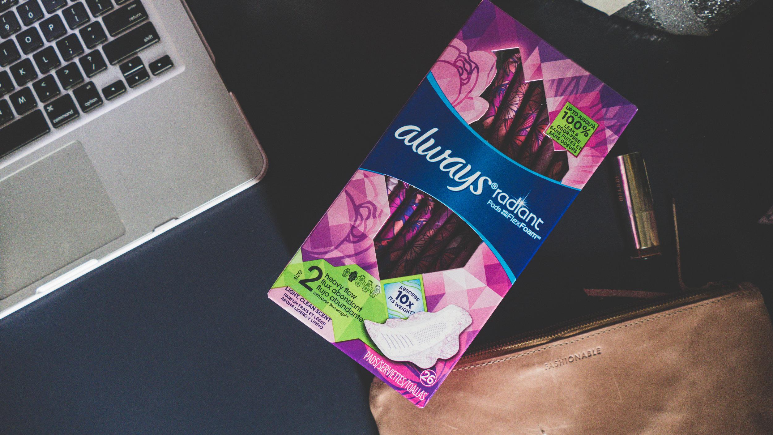 always radiant pads, mom on the go, motherhood, walmart, size selector