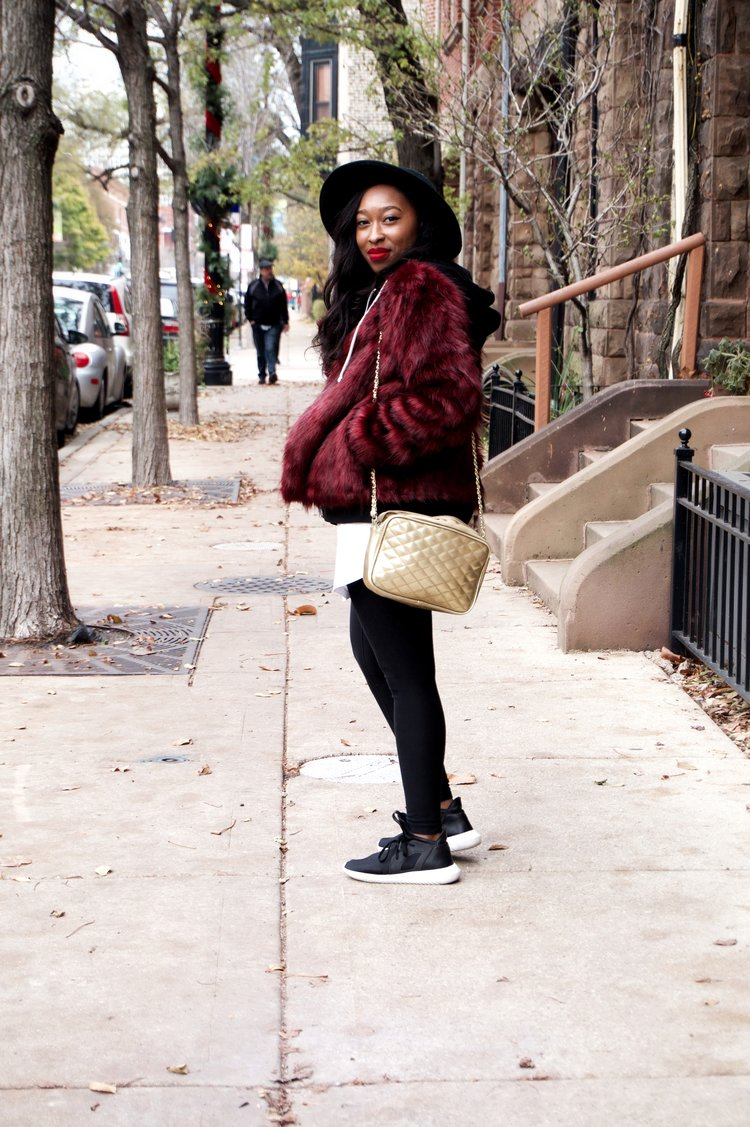 faux fur jacket, red faux fur jacket, nike leggings, adidas tubular, forever 21, tj maxx, how to style, how to wear