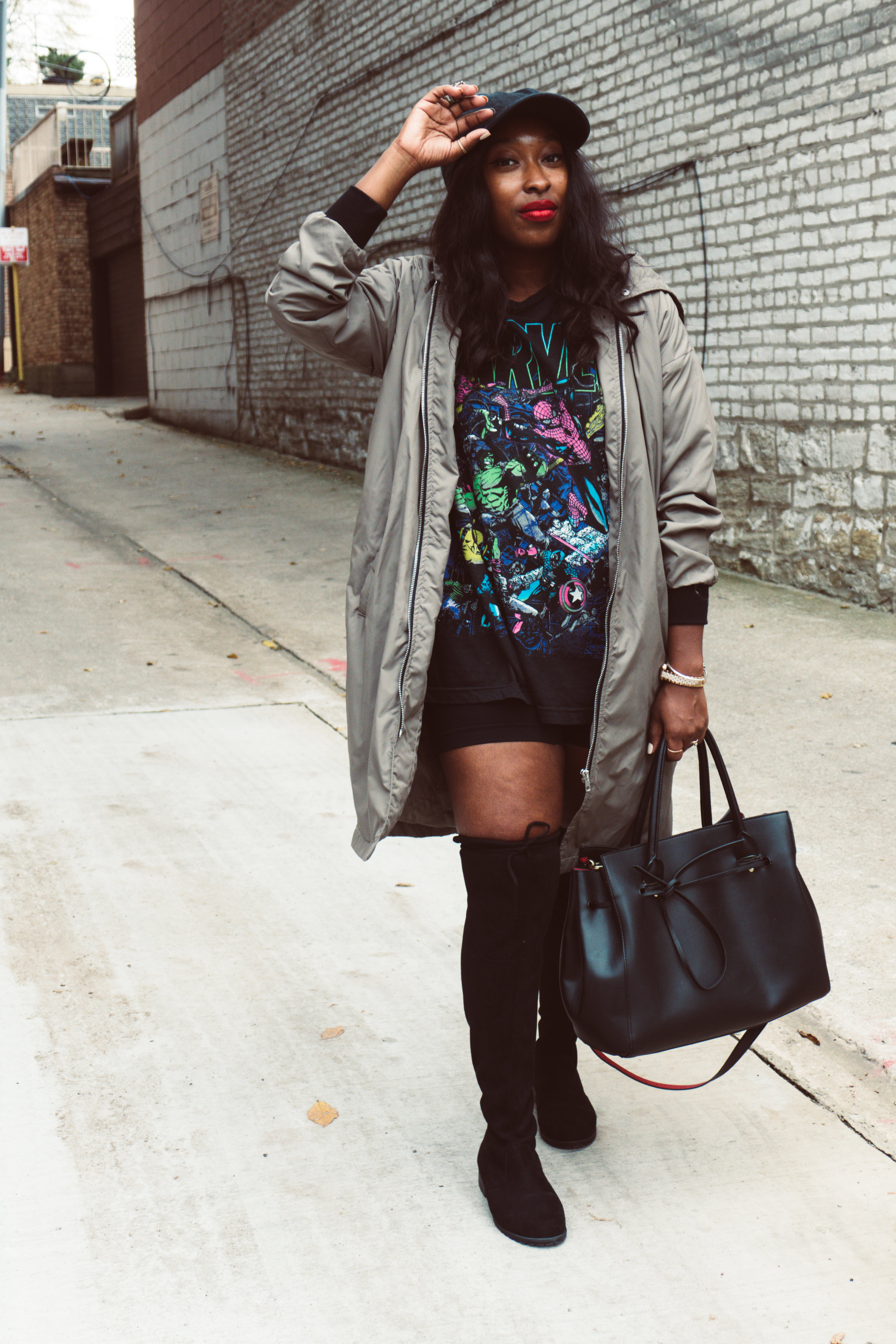 Tshirt dress, graphic tshirt, over the knee boots, bomber jacket