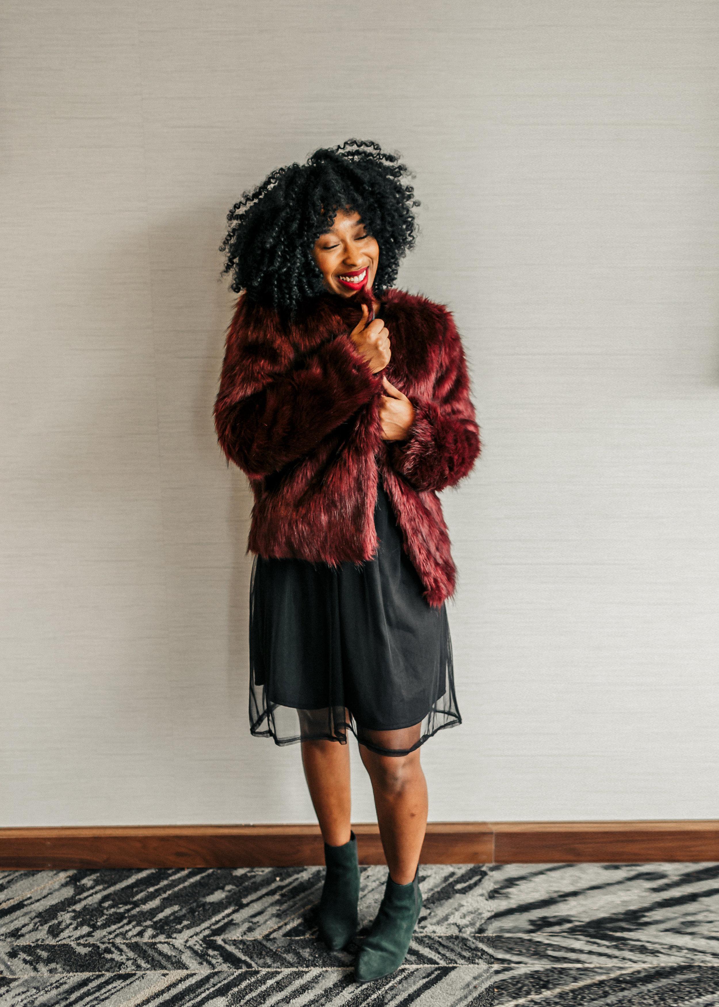 faux fur jacket, mesh dress, urban outfitters, tjmaxx
