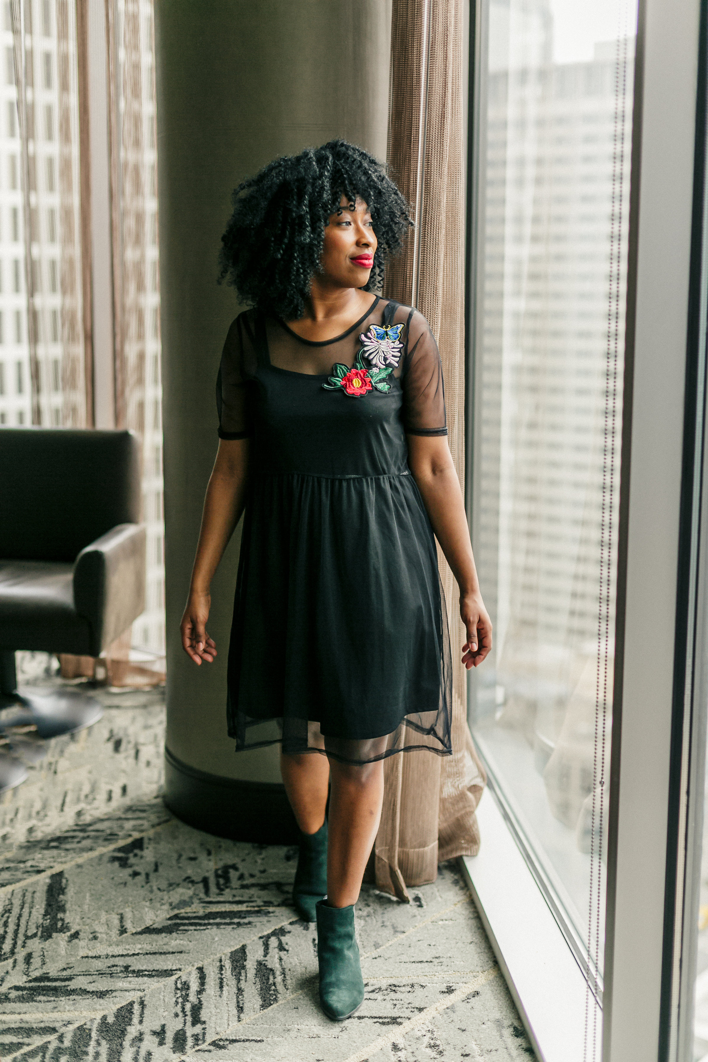 Mesh dress, floral dress, embroidered dress, how to style, holiday party outfits,