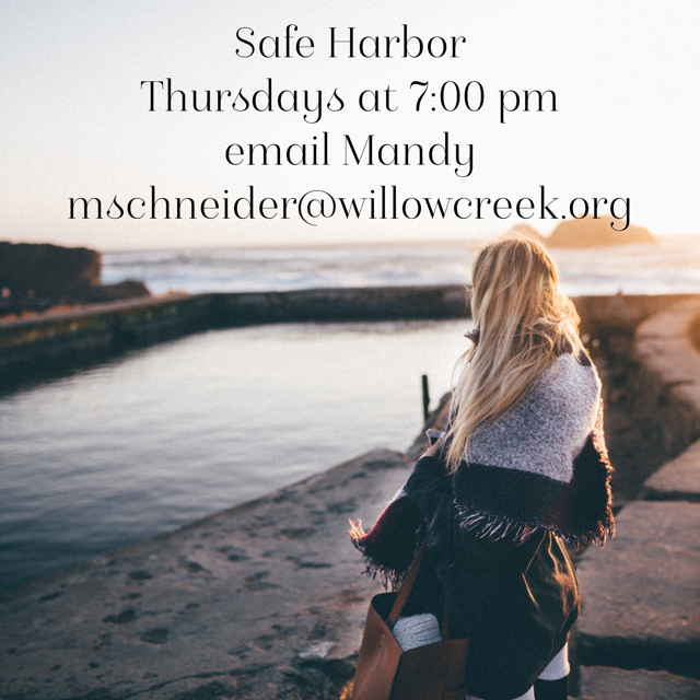 SAFE HARBOR - Violence comes in many forms; silence, control, dominance, verbal, emotional, or physical battering. Get educated. Get connected.This is a women's domestic violence support group. To get your questions confidentially answered, location information, or to register, contact Mandy at mschneider@willowcreek.org today.Upcoming:Wednesday | Sept. 25 | 6:30pm | Safe Harbor |Safe Harbor is a private women's domestic violence support group. For more information, location, or to register, contact Mandy at mschneider@willowcreek.org.