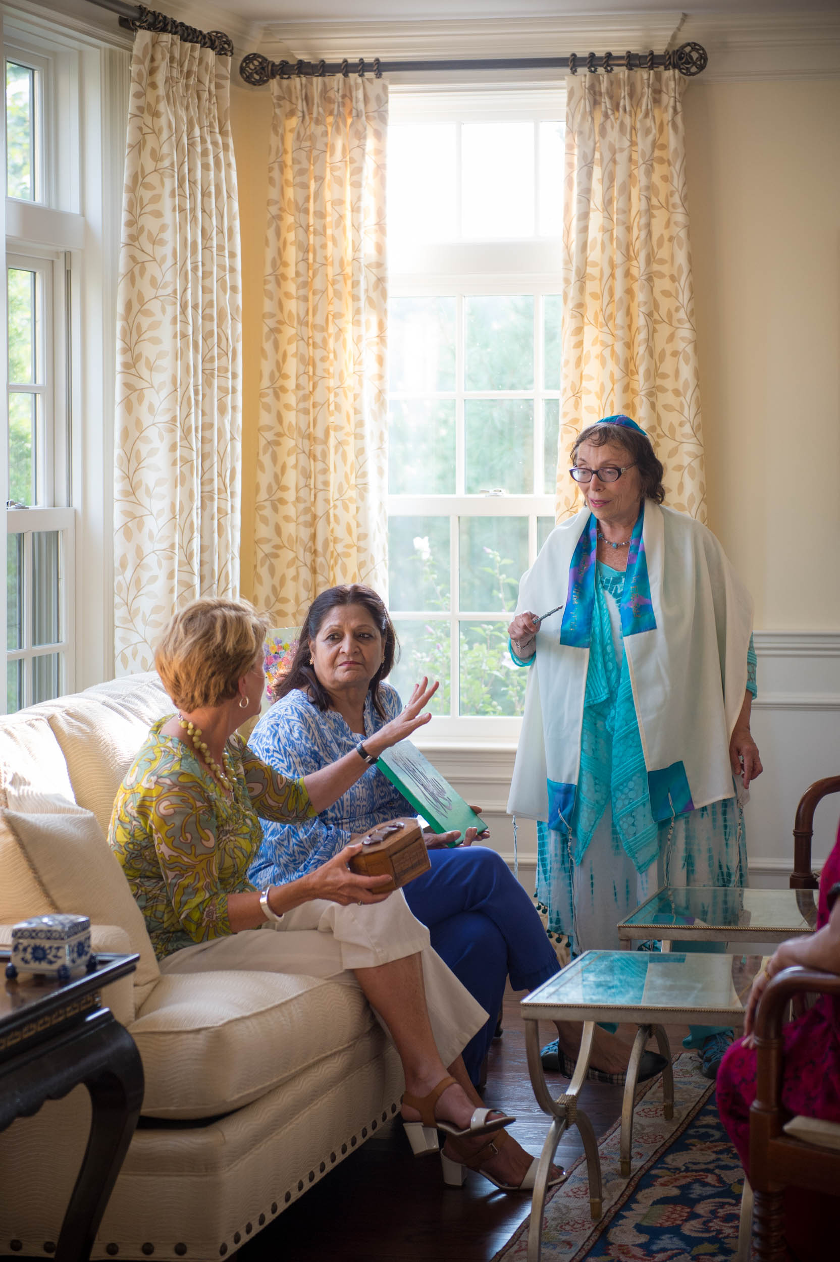 Maura Wayman Photography, Photography, Corporate Photography, stock, stock images, Massachusetts, Boston, Metro West, Mosque, Muslim, Jewish, Wellesley Weston Magazine, women, women talking, living room, home, curtain,