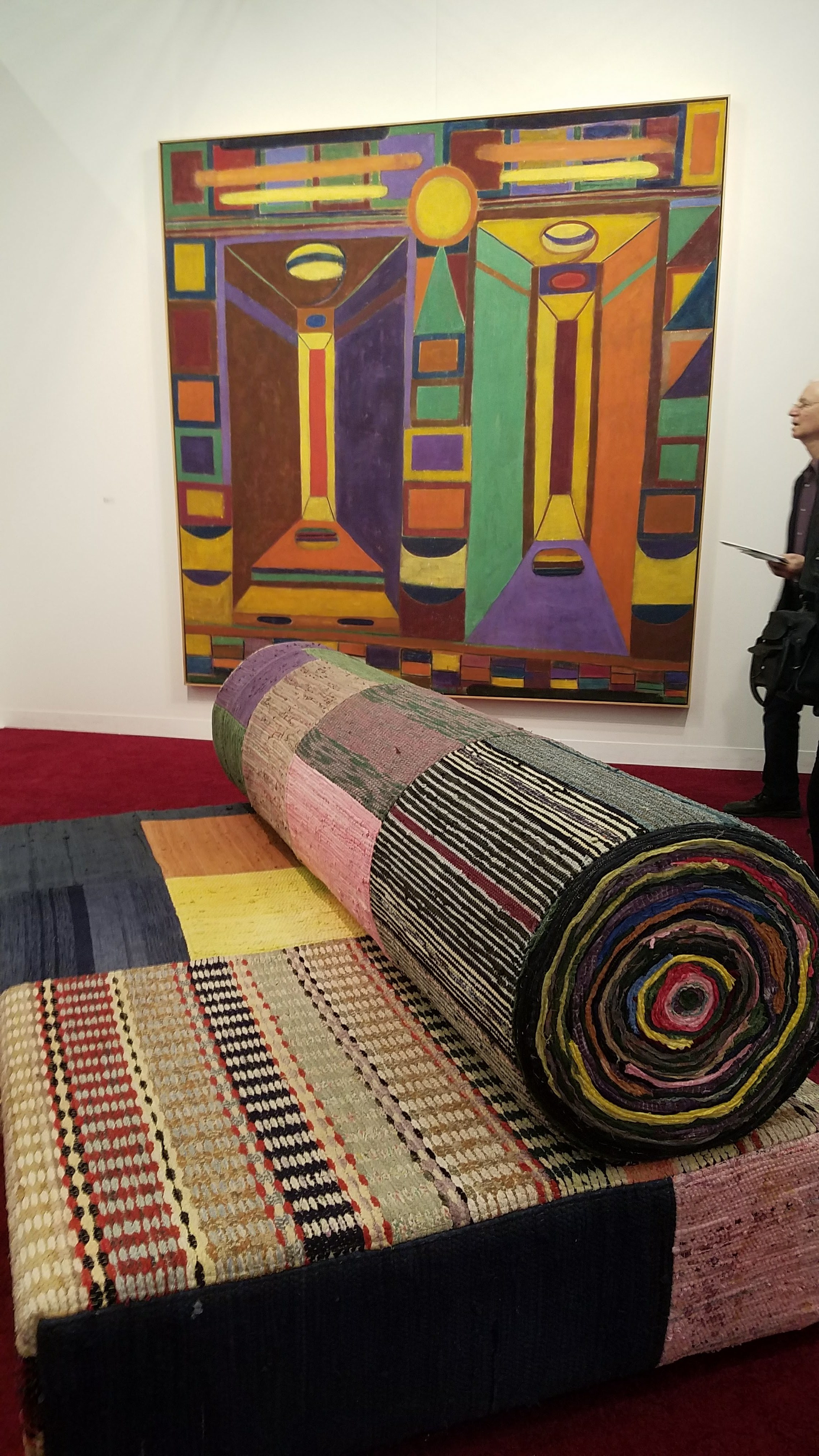 Tal R, Retired Professor, 2014, Rag Rug on foam on wood and rope, Courtesy Victoria Miro Gallery