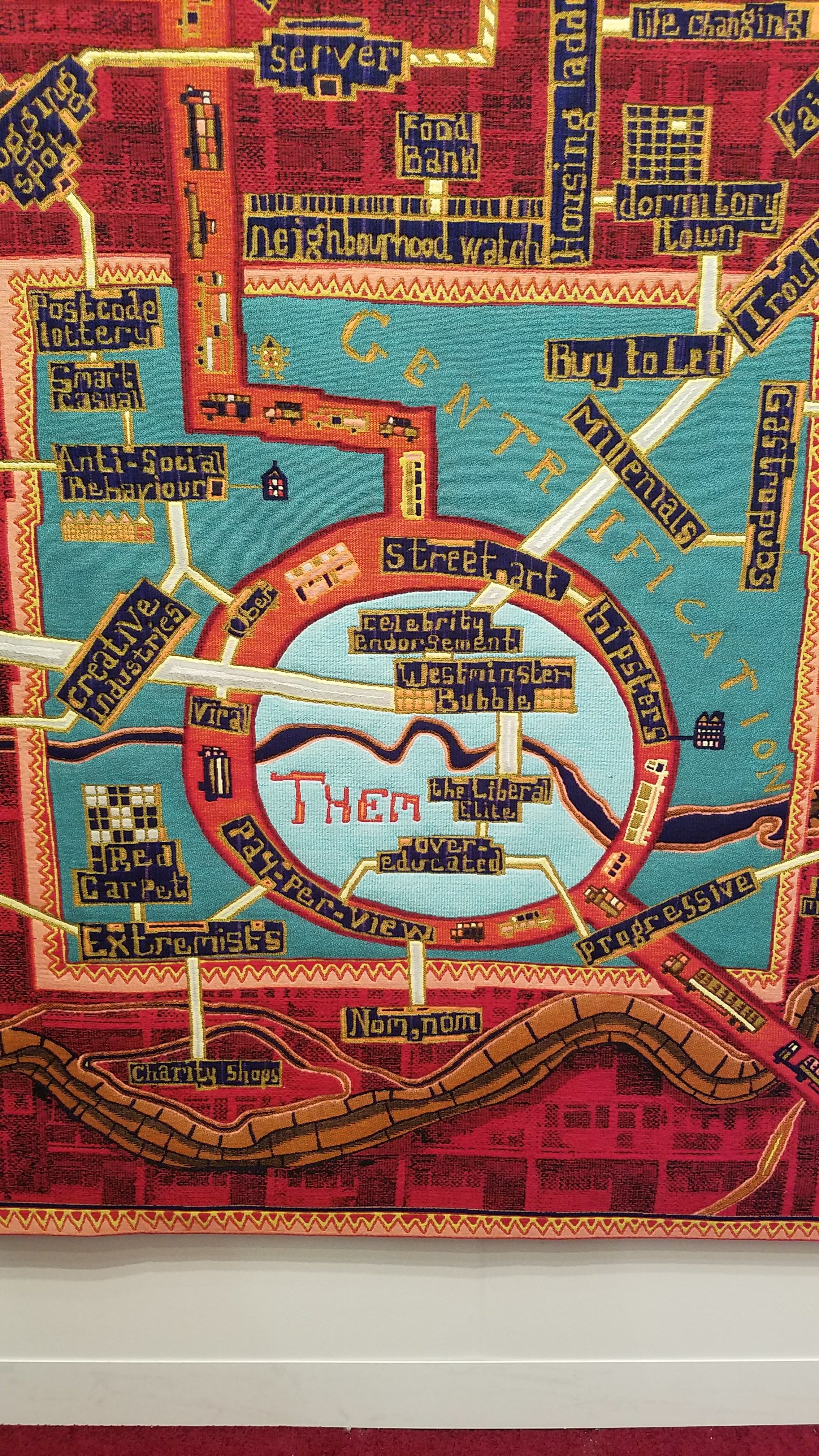 Grayson Perry, Red Carpet, 2017, tapestry, courtesy of Victoria Miro Gallery