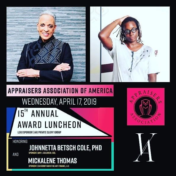 Inspirational discussion and recognition of these amazing  women in the arts at the @appraisersassociation #awardluncheon today! •  #appraisersluncheon #appraisersassociation #mickalenethomas #johnnettabetschcole #thomas #cole #disruptors #change #recognition #art #artmatters #arthistory @#mickalenethomas