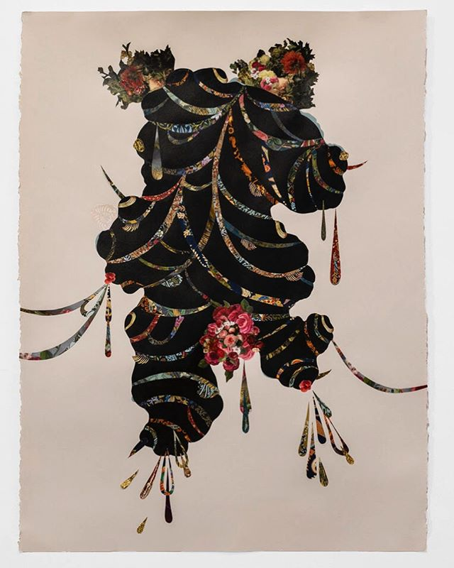 "Vickie Pierre, ""What Keeps Me, Binds Me"" (Poupées in the Bush series), 2019. Acrylic and decorative paper collage. image courtesy of #FredericSnitzerGallery.  Brooklyn native Vickie Pierre's multimedia art focuses on the universal themes of identity relating to nature, and the consinguity between her Haitian heritage (and larger Carribbean community) and global mythologies.  Pierre's work will be featured at the 2019 Annual Orlando Museum of Art Prize in Contemporary Art, (May 31- August 18). This show highlights 10 of the most progressive and groundbreaking national artists.  #workonpaper #drawing #art"