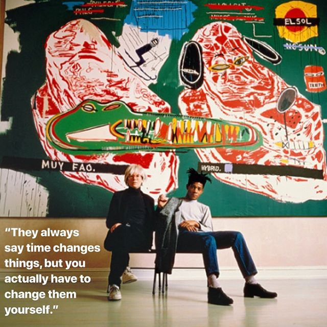 "In honor of @galeriebrunobischofberger 's now open exhibition featuring works of Basquiat, Warhol, and some of their collaborative efforts, here are some words of wisdom from one of the two legends: ""They always say time changes things, but you actually have to change them yourself."" - Warhol  #galeriebrunobirschofberger #switzerland #zurich #warhol #basquiat #varaart"