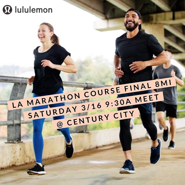 Come experience the final 8mi of the @lamarathon course with us! All levels welcome. Details and afterparty info available via Eventbrite in bio!  #lamarathon #lululemon #westsiderunnersla #longrun