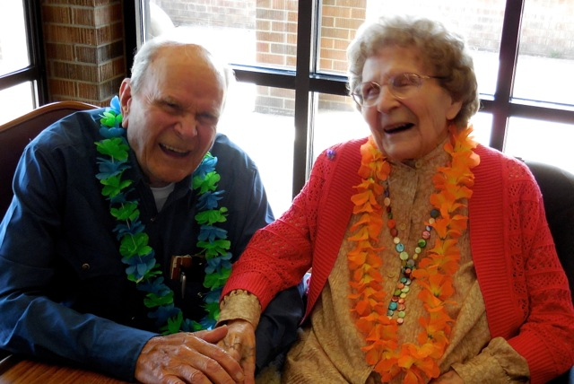 Leo sharing a joke with his sister at her 100th birthday. She survives him at 103.