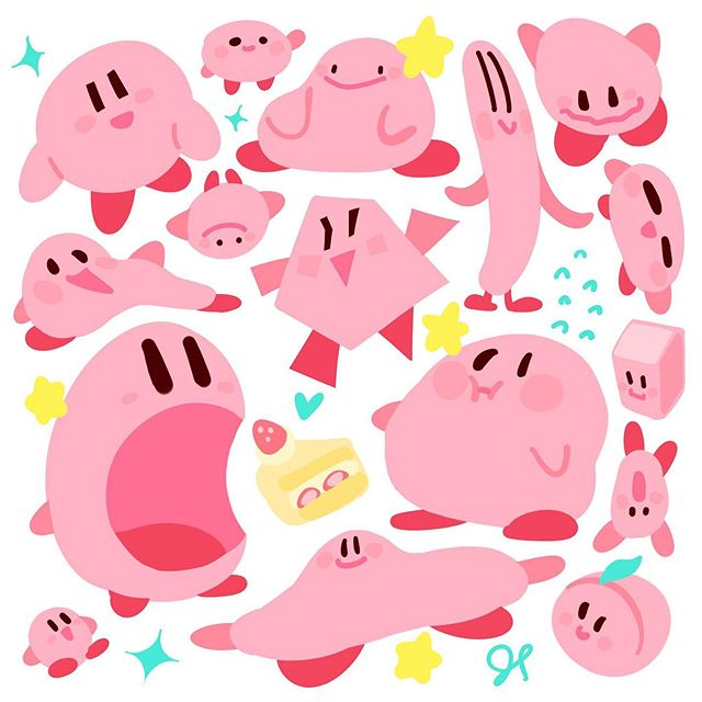 KIRBS!!! best pink boy 🌸💕⭐️💖🍰 #kirby #カービィ #fanart