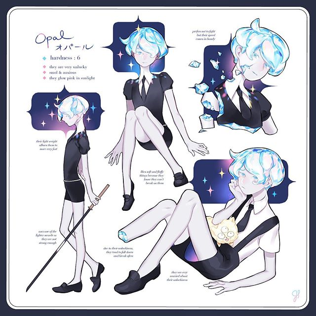 can we please have opal/opalite in the hnk universe please  #housekinokuni #landofthelustrous #originalcharacter #charactersheet #artistsoninstagram #opal