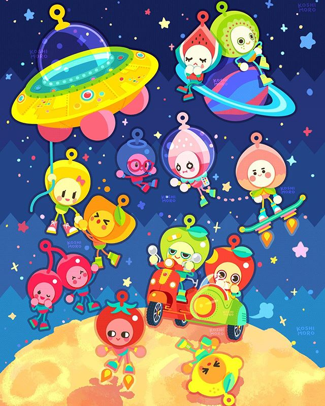 fruit aliens ! 🌽🍊🍒🍑🍓🍋🍎🥝🍉🍏🍅 . . . . #original #originalcharacter #characterdesign #illustration #design #fruit #alien #space #ufo #vespa #planet #characterillustration #colorful #originalart