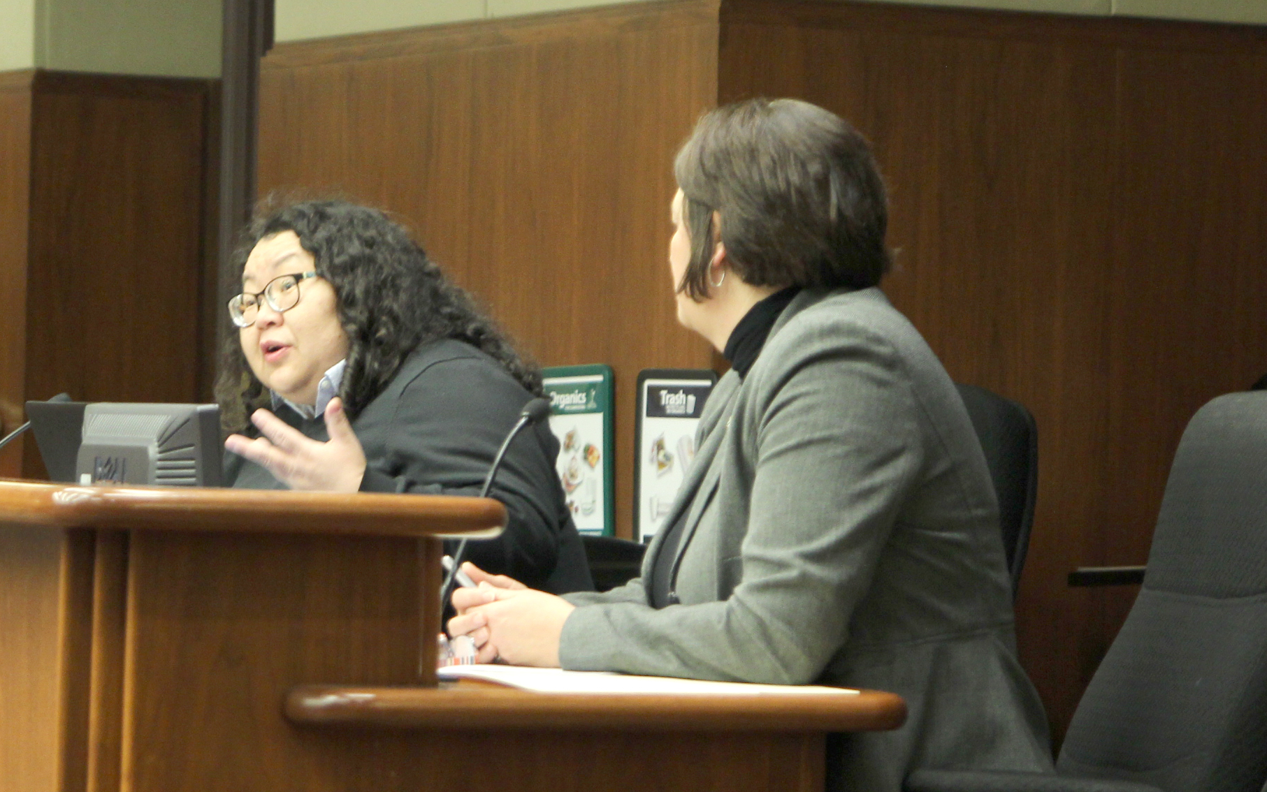 Hmong American Farmer Association (HAFA) executive director Pakou Hang and MN House bill author Deb Kiel testifying at a MN House agriculture committee hearing.
