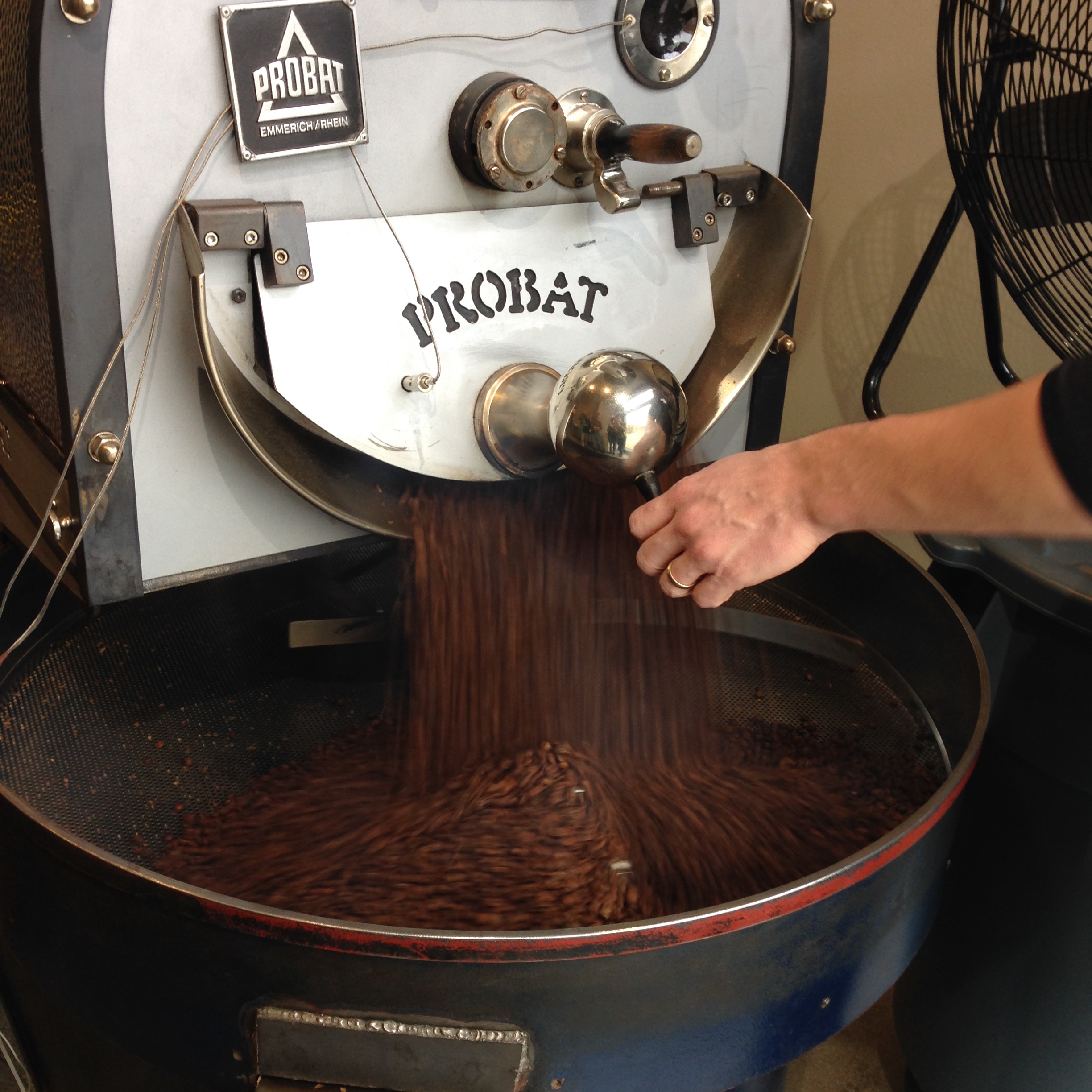 Tinker Coffee Co. - Droppin' like it's hot. We pick up between 50 to 200 pounds a week of our ZING blend from the T Boyz.