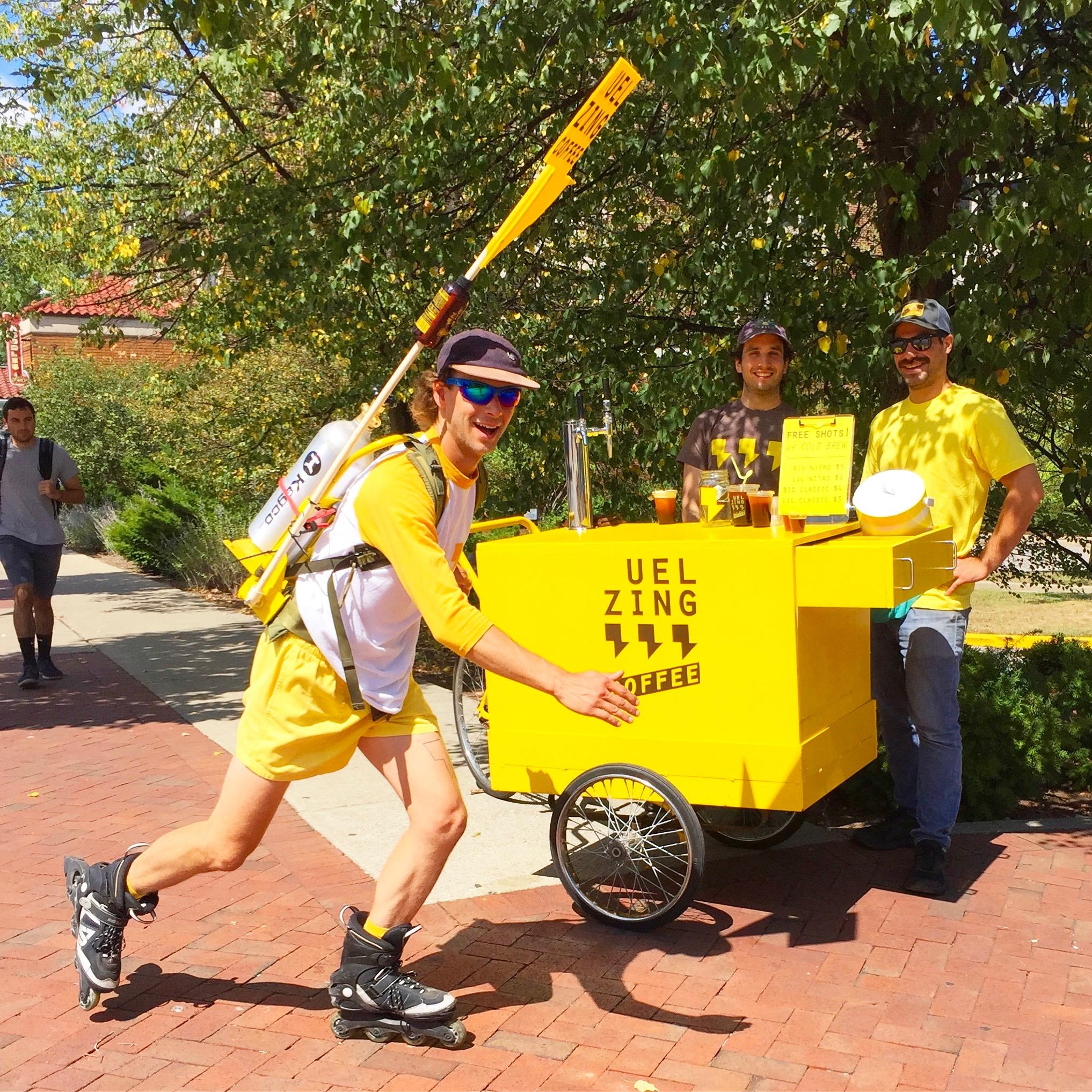 Uel Zing Coffee Cart and Rollerblades.JPG