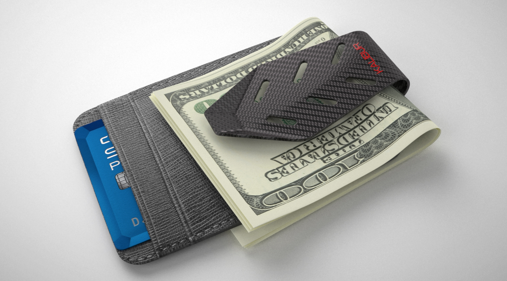 Design featured a card holder to protect and hold up to 8 cards. The back of the clip was designed to look like a race car pedal.