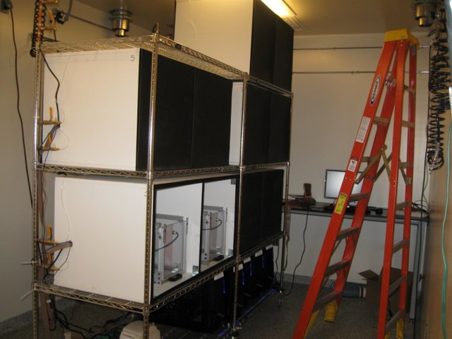 Olveczky Lab: Working with Olveczky lab members, custom isolation chambers were designed and constructed to segregate conditioning cages. Water ports can be seen along the back of the chrome rack.