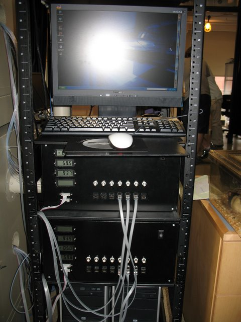 Uchida Lab: Two of many computer-controlled 16 channel olfactometers  capable of producing precise mixtures of odors and variable  concentrations. They are part of a larger system of hardware and  software produce by the Neuroengineering facility designed to measure  the behavior of rodents in a nose-poke olfactory discrimination task.