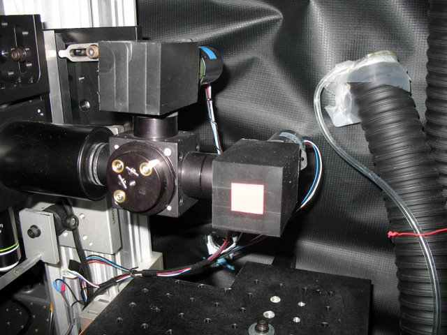 Murthy Lab: We have produce numerous devices for the many custom built 2 photon microscopes that exist in CBS. Here two PMT mounts are shown as part of a two channel, two photon microscope.