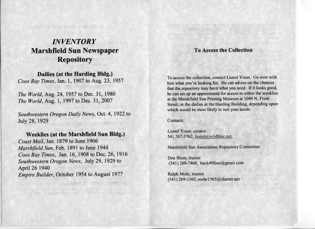 Inventory of the Marshfield Sun Newspaper Repository - Harding Building and Marshfield Sun Building. To access the collection contact Lionel Youst.