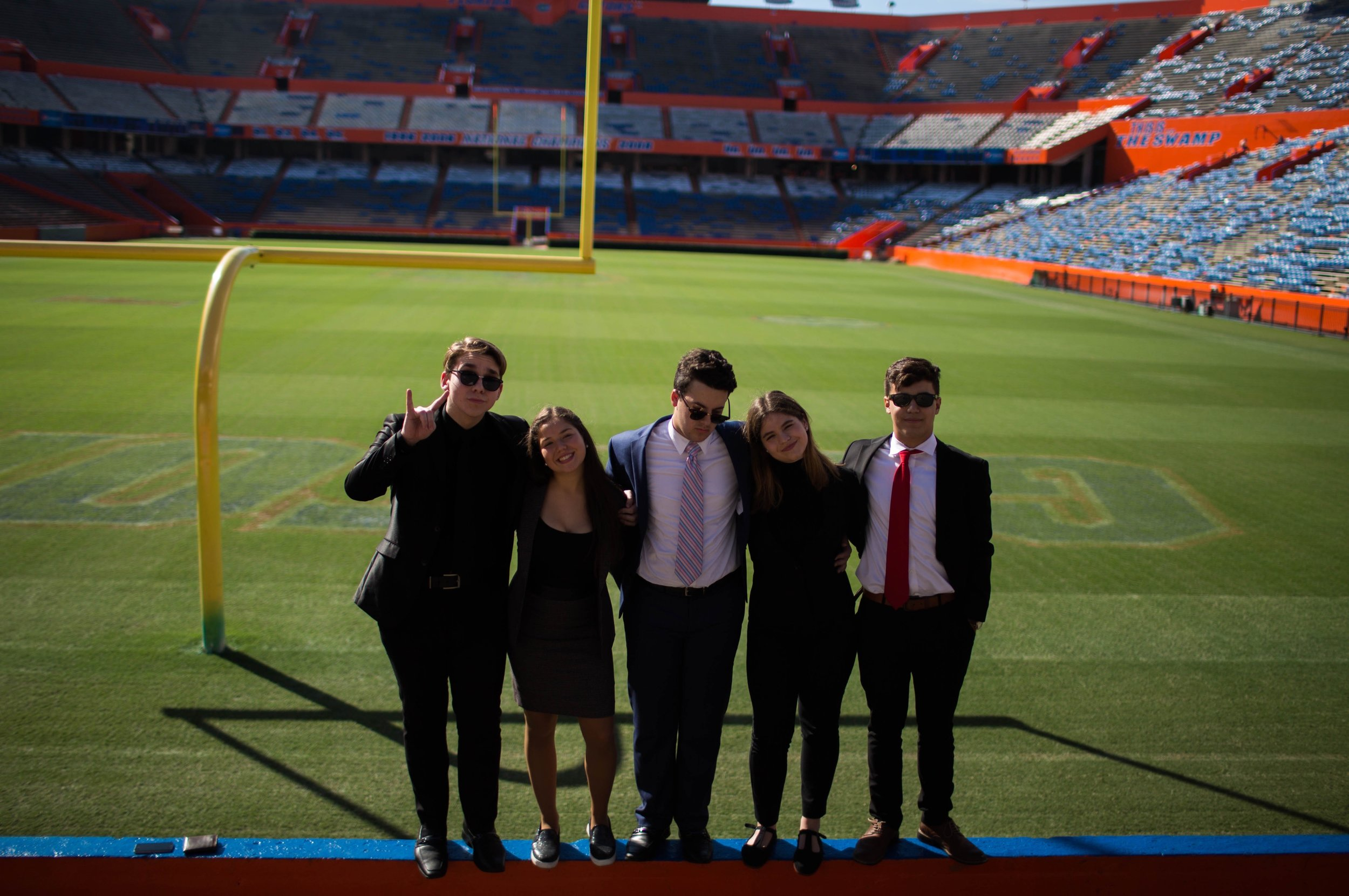 (left to right) Alejandro Cuellar, Andrea Lopez, Matthew Gonzalez, Marcela Ferran, and Alex Duarte at The Swamp for Blue Key 2016 in October.