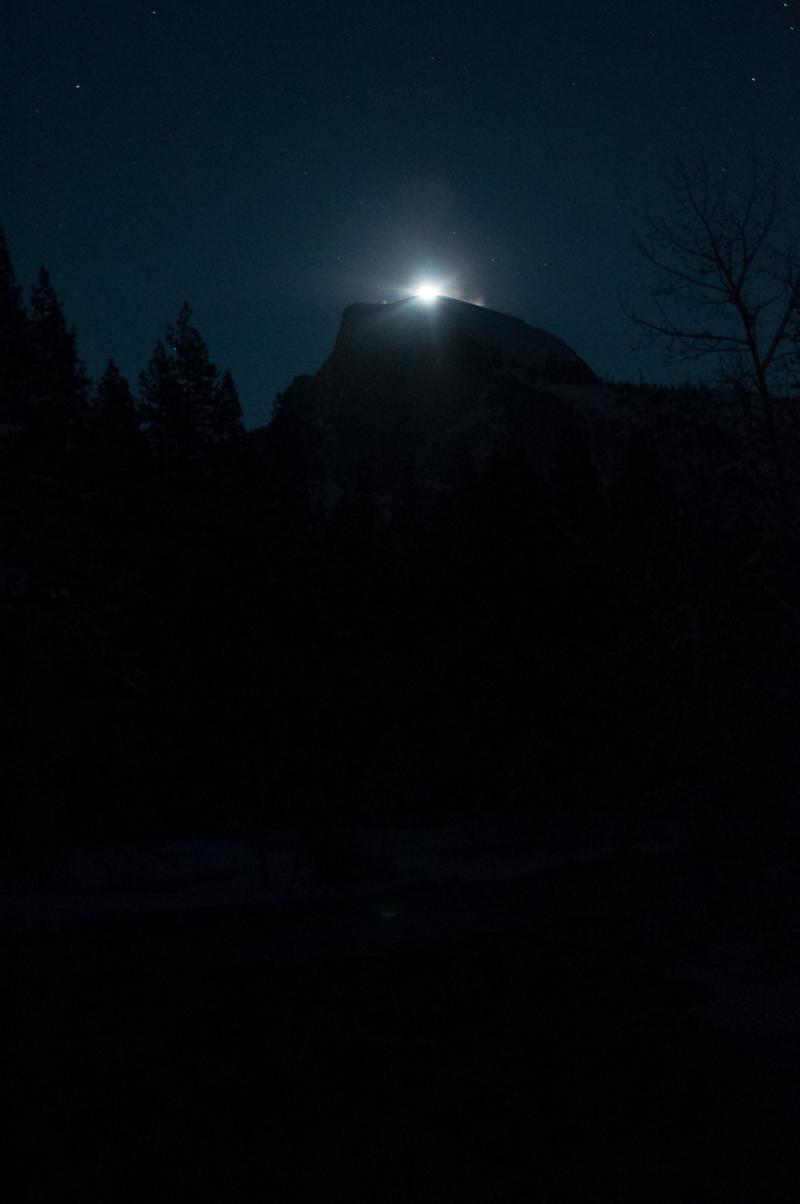 Moonrise over Half Dome - Dec. 28 2015