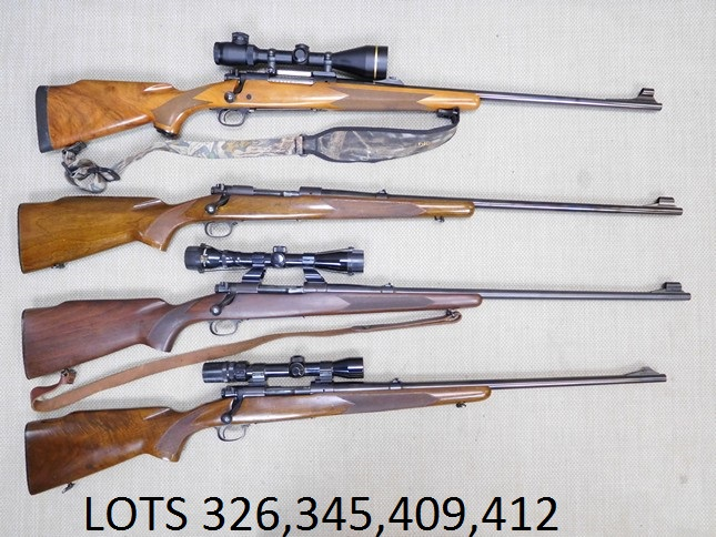 - PLEASE TAKE A LOOK AT LOTS326,345,  409, AND 412ALL WINCHESTER RIFLES, ASSORTED MODELS AND CALIBERS