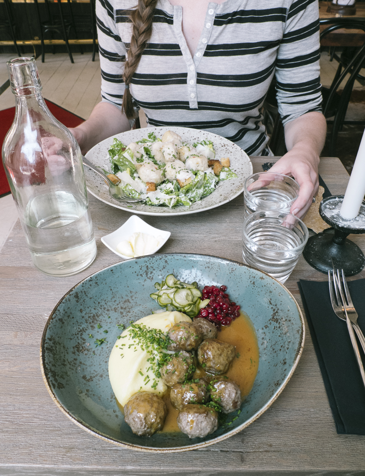 Having a lunch of traditional, and not so traditional, Swedish meatballs at Meatballs for the People, Stockholm.