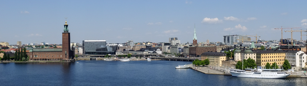 View of City Hall and Stockholm skyline from Mariaberget.