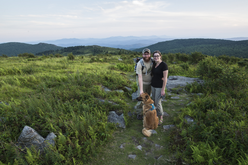My wife and I hiking with Jack at Grayson Highlands, Virginia.