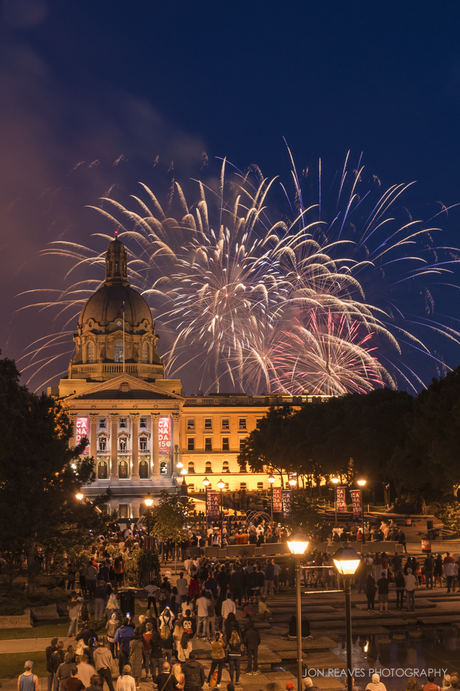 Canada Day Fireworks over the Alberta Legislative Grounds, Edmonton, AB. (Nikon D600, 18-35G, Tripod - 35mm, ISO 200, f11, 3 sec)